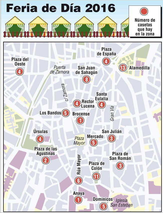 Plano de zonas de la feria. www.lagacetadesalamanca.es