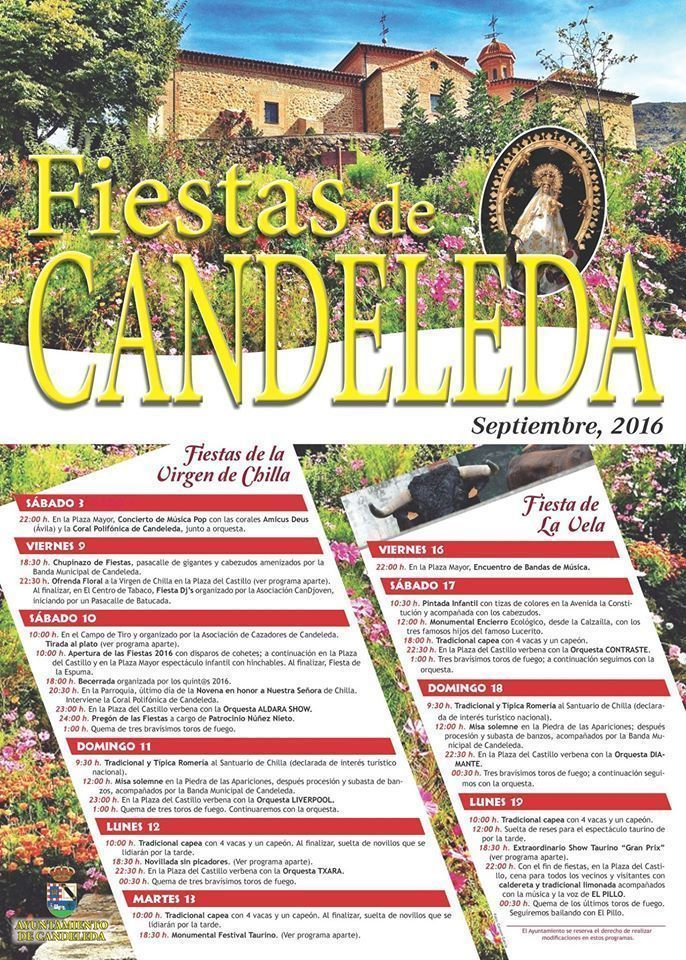 Calendario fiestas de septiembre 2016