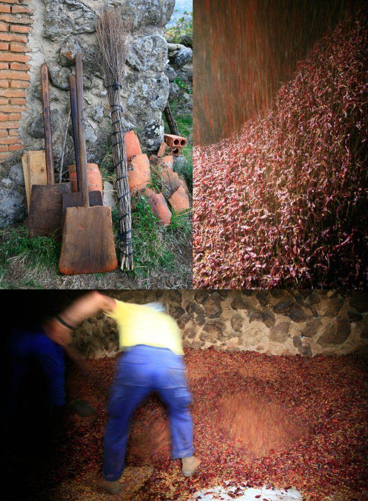 Pisado del pimentón ahumado picante El Sequero