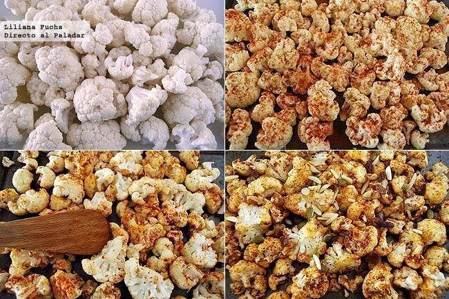 Coliflor asada con pimentón ahumado y frutos secos. Imagen de Directo a Paladar